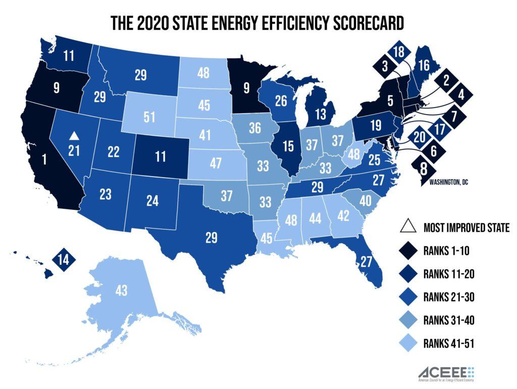 The 2020 State Energy Efficiency Scorecard U.S. map